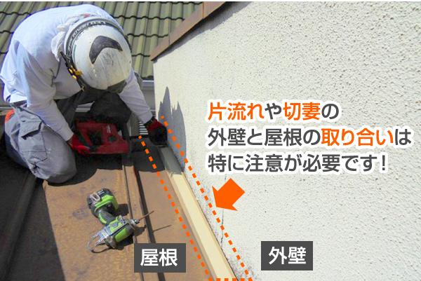 片流れや切妻の外壁と屋根の取り合いは特に注意が必要