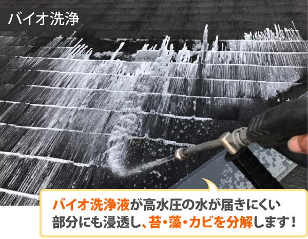 バイオ洗浄液が高水圧の水が届きにくい 部分にも浸透し、苔・藻・カビを分解します