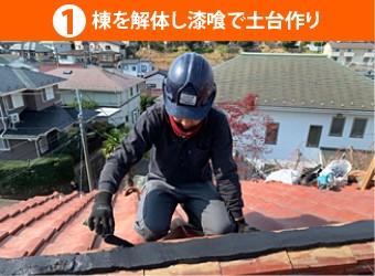 棟を解体し漆喰で土台作り