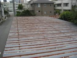 施工前の屋根の赤さび写真