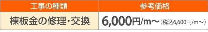棟板金の修理・交換6,600円/m~